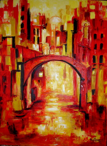 """Painting titled """"Venis Canal"""" by Mary Papas, Original Art, Oil Mounted on Other rigid panel"""