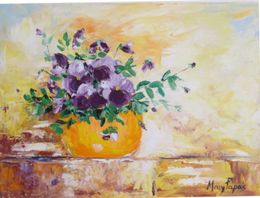 """Painting titled """"Potted Pansies"""" by Mary Papas, Original Art, Oil"""