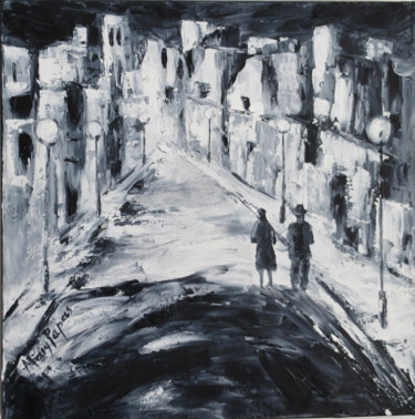 """Painting titled """"Night Stroll 2"""" by Mary Papas, Original Art, Oil"""