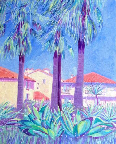"""Painting titled """"Palm Trees, Antibes"""" by Mary Stubberfield, Original Art, Oil Mounted on Stretcher frame"""