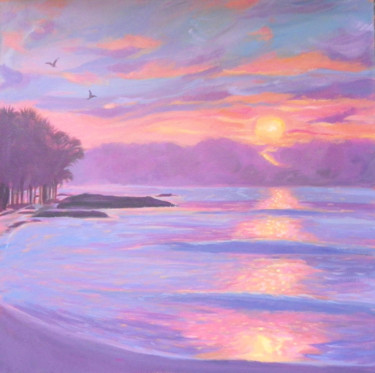 """Painting titled """"Sunset beach"""" by Mary Stubberfield, Original Art, Acrylic Mounted on Stretcher frame"""