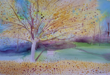 """Painting titled """"Autumn Blaze tree p…"""" by Mary Stubberfield, Original Art, Watercolor"""