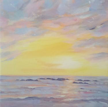 """Painting titled """"Sunset at the beach"""" by Mary Stubberfield, Original Art, Acrylic Mounted on Stretcher frame"""