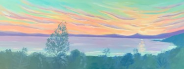 """Painting titled """"Greek Sunset"""" by Mary Stubberfield, Original Art, Oil Mounted on Stretcher frame"""