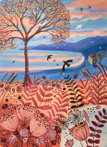 """Painting titled """"Autumn Bay"""" by Mary Stubberfield, Original Art, Acrylic"""