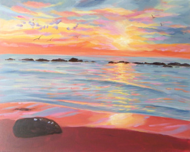 """Painting titled """"Tropical Sunset"""" by Mary Stubberfield, Original Art, Acrylic Mounted on Stretcher frame"""