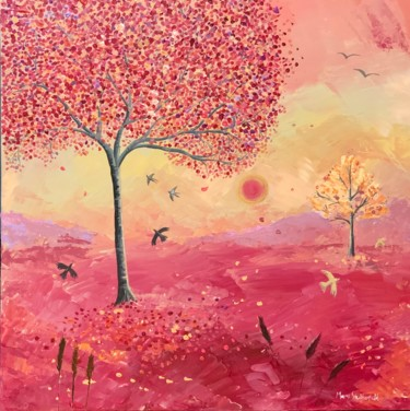 """Painting titled """"Autumn trees in the…"""" by Mary Stubberfield, Original Art, Acrylic Mounted on Stretcher frame"""