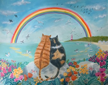 """Painting titled """"Cats with rainbow"""" by Mary Stubberfield, Original Art, Acrylic"""
