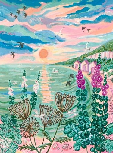 """Painting titled """"By the sea- landsca…"""" by Mary Stubberfield, Original Art, Acrylic"""