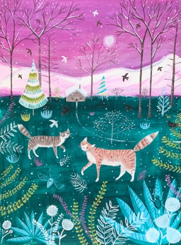 """Painting titled """"Cat walk in winter"""" by Mary Stubberfield, Original Art, Acrylic"""