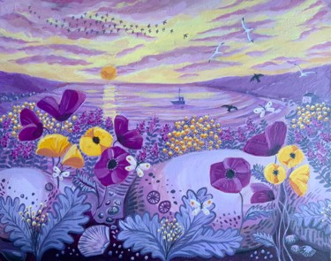 """Painting titled """"Flowers at the beach"""" by Mary Stubberfield, Original Art, Acrylic Mounted on Stretcher frame"""