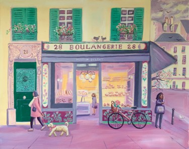 """Painting titled """"La boulangerie 28"""" by Mary Stubberfield, Original Art, Acrylic"""