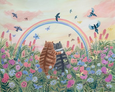"""Painting titled """"Rainbow cats"""" by Mary Stubberfield, Original Art, Acrylic"""