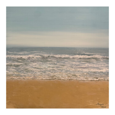 """Painting titled """"Falesia Beach"""" by Maryam Nilforoushan, Original Art, Oil Mounted on Stretcher frame"""