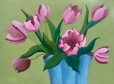 """Painting titled """"Tulips in a Blue Va…"""" by Mary Downe, Original Art, Oil"""