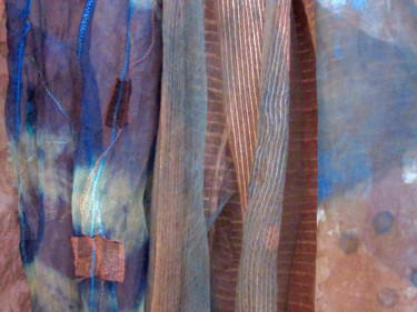 """Textile Art titled """"Indigo and Persimmo…"""" by Mary Downe, Original Art,"""