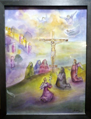 """Painting titled """"Оплакивание Иисуса…"""" by Mary Nel, Original Art, Watercolor Mounted on Stretcher frame"""