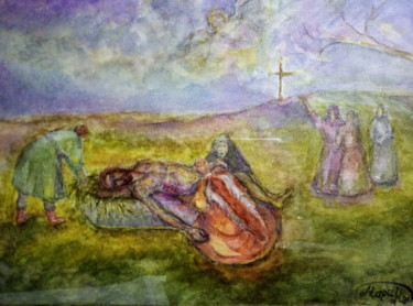 """Painting titled """"Mourning Mary over…"""" by Mary Nel, Original Art, Watercolor Mounted on Stretcher frame"""