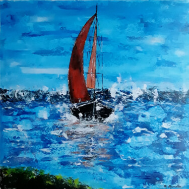 """Painting titled """"Les voiles rouges #…"""" by Maryse Marcotte, Original Art, Acrylic"""