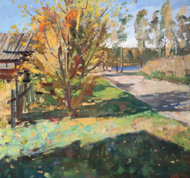"""Painting titled """"Autumn time in a vi…"""" by Egorova Maria, Original Art, Oil"""
