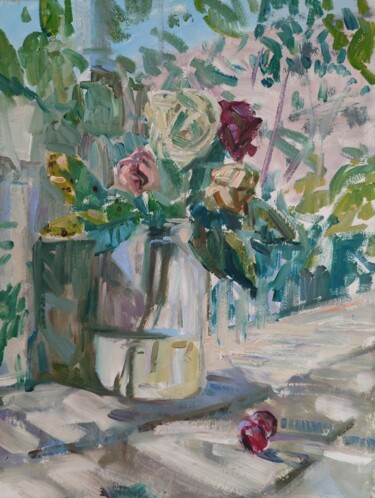 """Painting titled """"Roses and plums"""" by Egorova Maria, Original Art, Oil"""