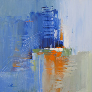 """Painting titled """"Abstract city"""" by Evgeniy Maslov, Original Art, Oil Mounted on Stretcher frame"""