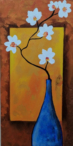 """Painting titled """"Orchid and moonlight"""" by Heya Masuka Nourin, Original Art, Acrylic Mounted on Wood Panel"""