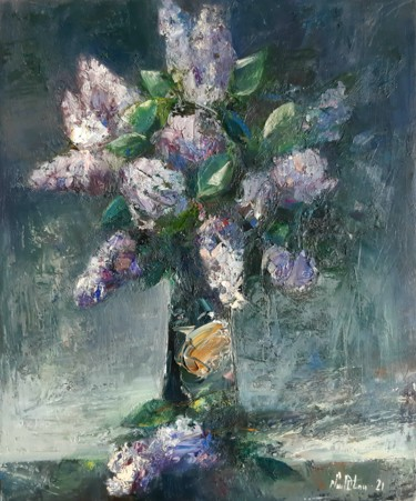 """Painting titled """"Abstract lilacs (50…"""" by Mateos Sargsyan, Original Art, Oil Mounted on Stretcher frame"""