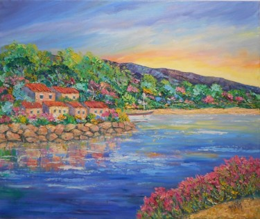 """Painting titled """"Côte d'azur"""" by Maurice Vetier, Original Art, Oil Mounted on Stretcher frame"""