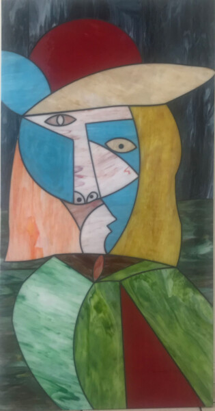 """Collages titled """"Belkis"""" by Maurimosaic, Original Art, Mosaic Mounted on Wood Panel"""