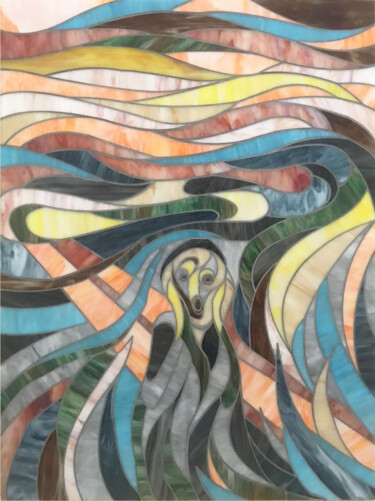 """Collages titled """"THE SCREAM"""" by Maurimosaic, Original Art, Mosaic Mounted on Wood Panel"""