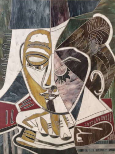 """Collages titled """"HEAD OF WOMAN READI…"""" by Maurimosaic, Original Art, Mosaic Mounted on Wood Panel"""