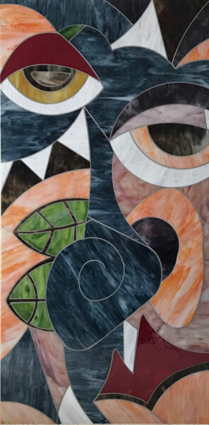 """Collages titled """"SNAIL"""" by Maurimosaic, Original Art, Mosaic Mounted on Wood Panel"""