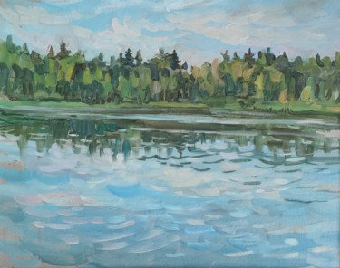 """Painting titled """"River landscape. Or…"""" by Maria Iakovleva, Original Art, Oil"""