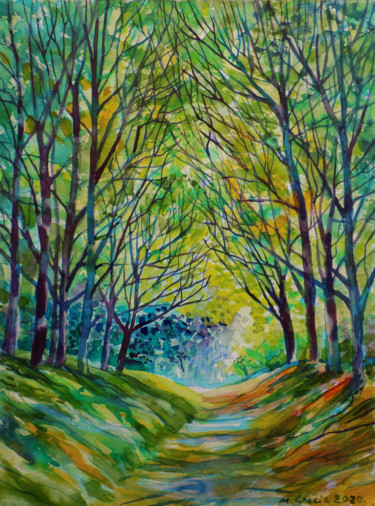 Forest Painting, watercolor, impressionism, artwork by Maja Grecic