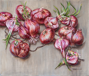 """Painting titled """"Untied red onions"""" by Maria Meltsaeva, Original Art, Oil Mounted on Stretcher frame"""
