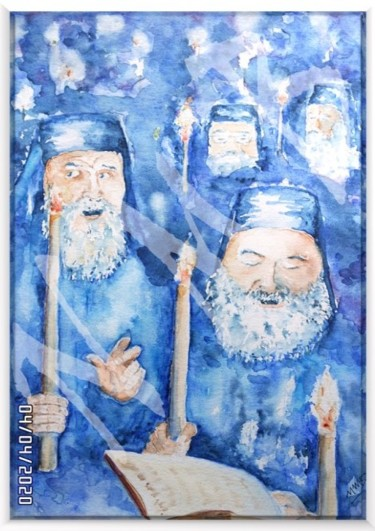 """Painting titled """"Cérémonie orthodoxe"""" by Nora Mb, Original Art, Watercolor"""