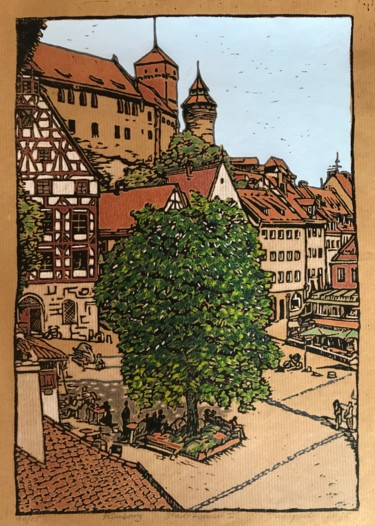 """Printmaking titled """"Tree in the City /…"""" by Margreet Duijneveld, Original Art, Linocuts"""