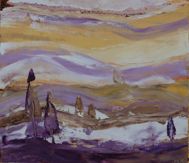 """Painting titled """"Violet landscape"""" by Mia Hunter, Original Art, Oil Mounted on Other rigid panel"""