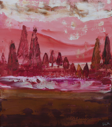 """Painting titled """"Pink trees"""" by Mia Hunter, Original Art, Oil Mounted on Other rigid panel"""