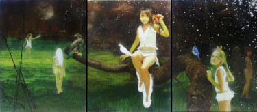 """Painting titled """"Three Studies for F…"""" by Michael Andrew Law, Original Art, Oil Mounted on Wood Panel"""