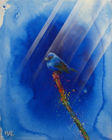"""Painting titled """"Untitled (Cute Blue…"""" by Michael Andrew Law, Original Art, Acrylic Mounted on Wood Panel"""