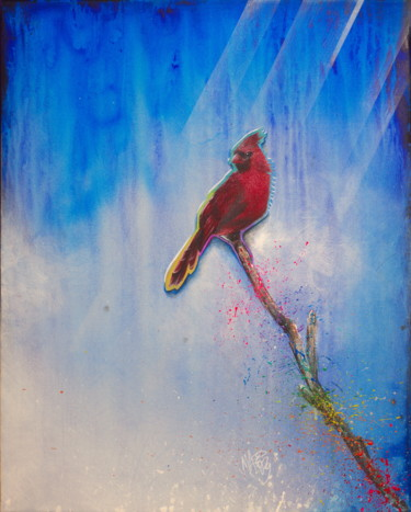 """Painting titled """"Untitled (Red Cardi…"""" by Michael Andrew Law, Original Art, Acrylic Mounted on Wood Panel"""