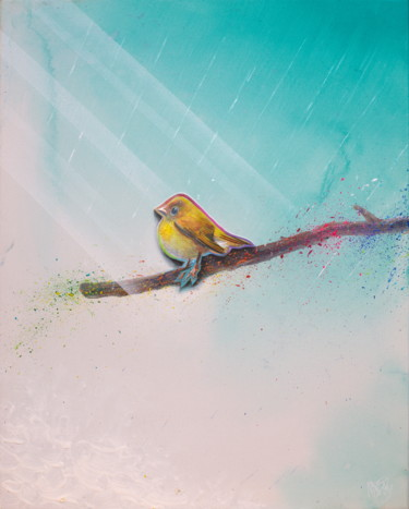 """Painting titled """"Untitled (Cute Yell…"""" by Michael Andrew Law, Original Art, Acrylic Mounted on Wood Panel"""