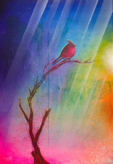 """Painting titled """"Cute Red Cardinal B…"""" by Michael Andrew Law, Original Art, Acrylic Mounted on Wood Panel"""