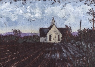 Countryside Painting, oil, impressionism, artwork by Micheal O Muirthile