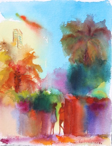 """Painting titled """"incandescence"""" by Michel Charrier, Original Art, Watercolor"""