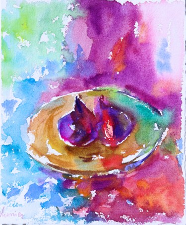 """Painting titled """"Figs of Provence an…"""" by Michel Charrier, Original Art, Watercolor"""