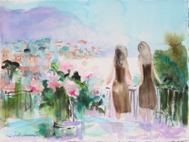 """Painting titled """"Watercolor of us, e…"""" by Michel Charrier, Original Art, Watercolor"""