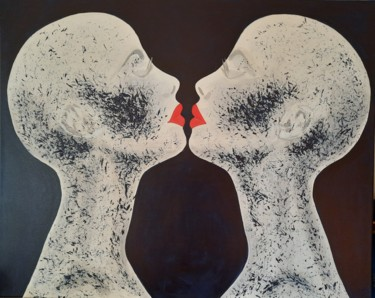 """Painting titled """"black is beautiful 2"""" by Michel Des Mazots, Original Art, Acrylic Mounted on Stretcher frame"""